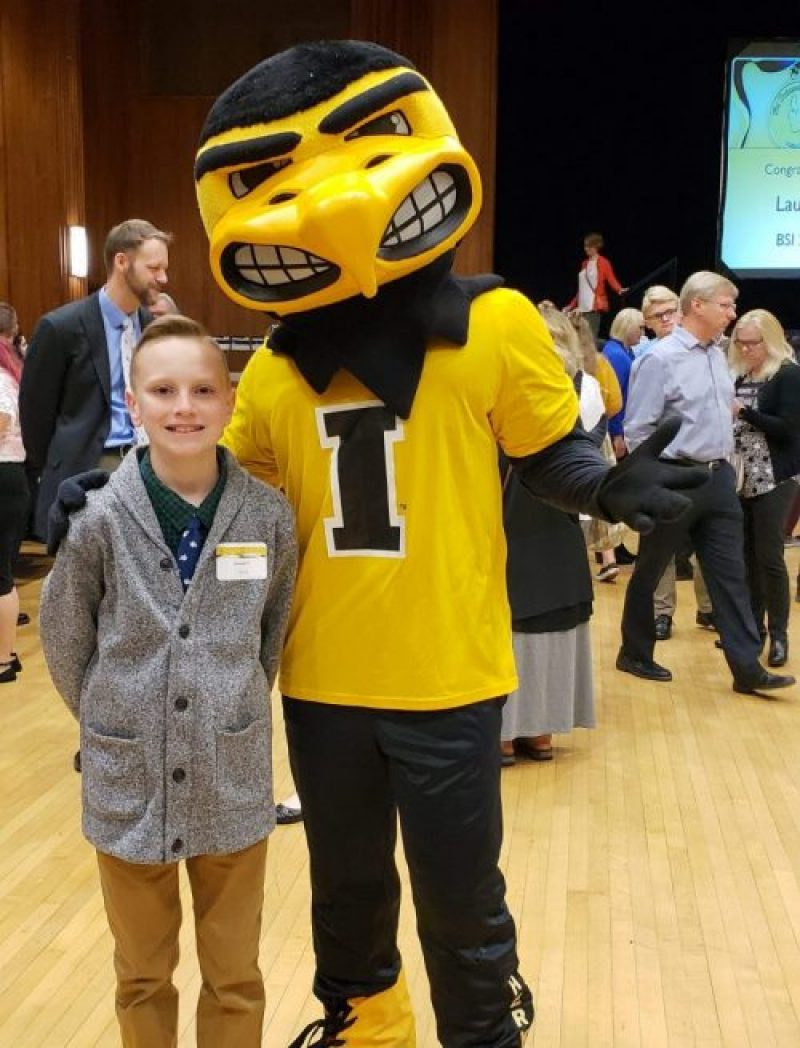 Kennedy Fitch (East Middle) and Herky the Hawk