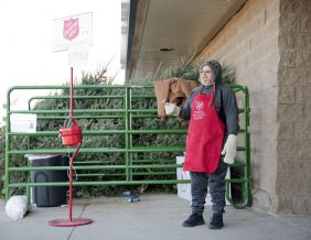 David McDevitt rings the bell for donations to the Salvation Army outside Bomgaars on Hamilton Boulevard on Nov. 23. Jesse Brothers, Sioux City Journal.