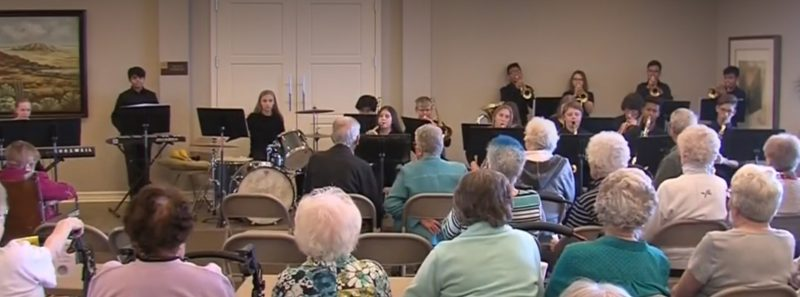 EMS Jazz Band performs at Whispering Creek Retirement Center in Sioux City.