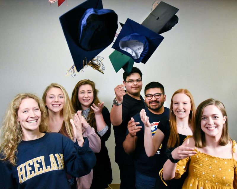 Seven 2019 graduates from metro Sioux City high schools gathered at the Sioux City Journal offices. From the left, Bishop Heelan's Katey Namanny, South Sioux's Morgan Bowman, West's Payton French, East's Andrew Flory, North's Jose Ruelas, Sergeant Bluff-Luton's Laura Morrison, and Siouxland Christian's Rachel Pirrie. Photo by Justin Wan.