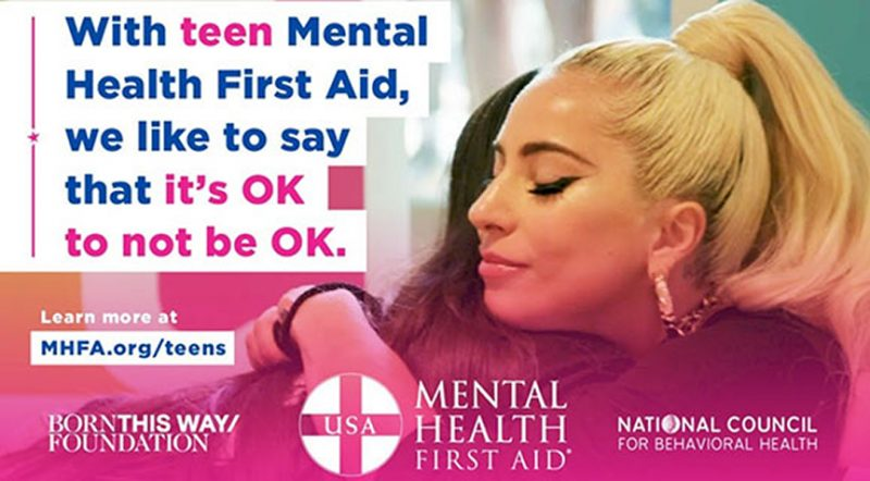 Mental Health First Aid Graphic from the Born this Way Foundation