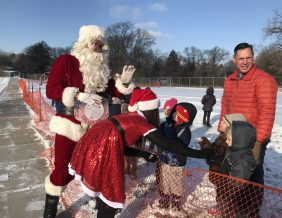Santa greets students at Clark Early Childhood Center