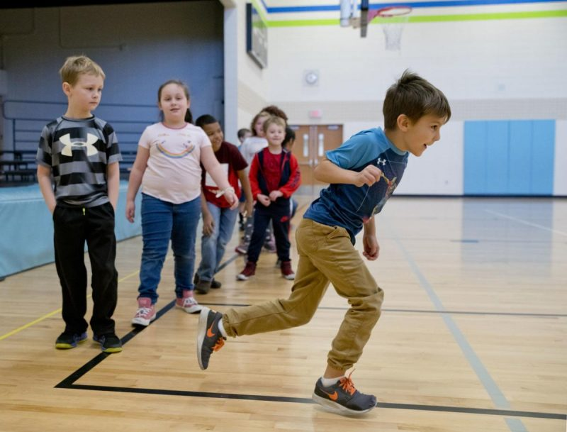 Students Participate in PE Class at Perry Creek Elementary. Photo by Jesse Brothers, Sioux City Journal.
