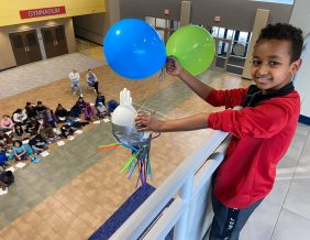 Students at Bryant Elementary experiment with egg drop test