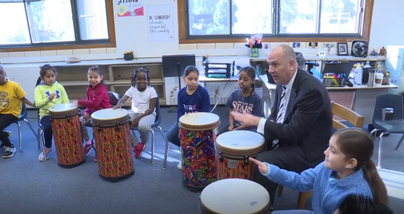 Students at Hunt A+ Arts Elementary play the drums for Community Arts Day