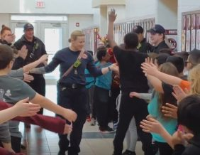 Students at Unity give Sarah a surprise send-off