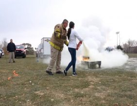 Students get hands-on fire safety training at the Sioux City Career Academy Photo by Bret Funke KTIV