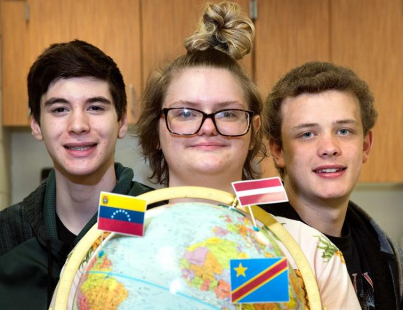 West High School 10th-grader Bryan Cruz presented research on Venezuela, 12th-grader Beverly Vetzel presented research on the Democratic Republic of the Congo, and 10th-grader Colin Houts presented research on Latvia at the World Food Prize Iowa Youth Institute, held in Ames, Iowa, on April 29.