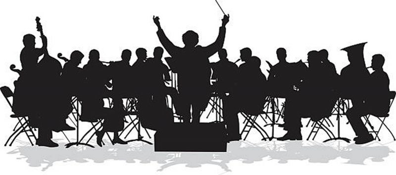 A vector silhouette illustration of an orchestra rehearsing
