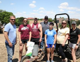 Students, faculty, and supporters of the Morningside University Regina Roth Applied Agricultural and Food Studies Department and the Sioux City Community Schools Career Academy Agriculture Program recently began planting test plots at the new Rosen Agriculture Center on the campus of Morningside University. Students will use the corn and soybean plots for hands-on activities when classes begin in the fall semester as part of a new collaborative learning program. Shown from left to right are: Cody Griffin (Morningside University Applied Agricultural and Food Studies Advisory Committee Chair), Anna Van Dusen and Connor Boehr (Morningside University Ag Students), Dr. Tom Paulsen (Morningside University Applied Agricultural and Food Studies Department Head), Estefania Villegas (Sioux City FFA Vice President), Taylor Weidauer (Sioux City Career Academy Agricultural Education Instructor and FFA Advisor), and Dee McKenna (Morningside University Garden Coordinator).