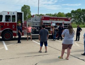 Sioux City Fire Rescue shows TAP participants around their fire truck
