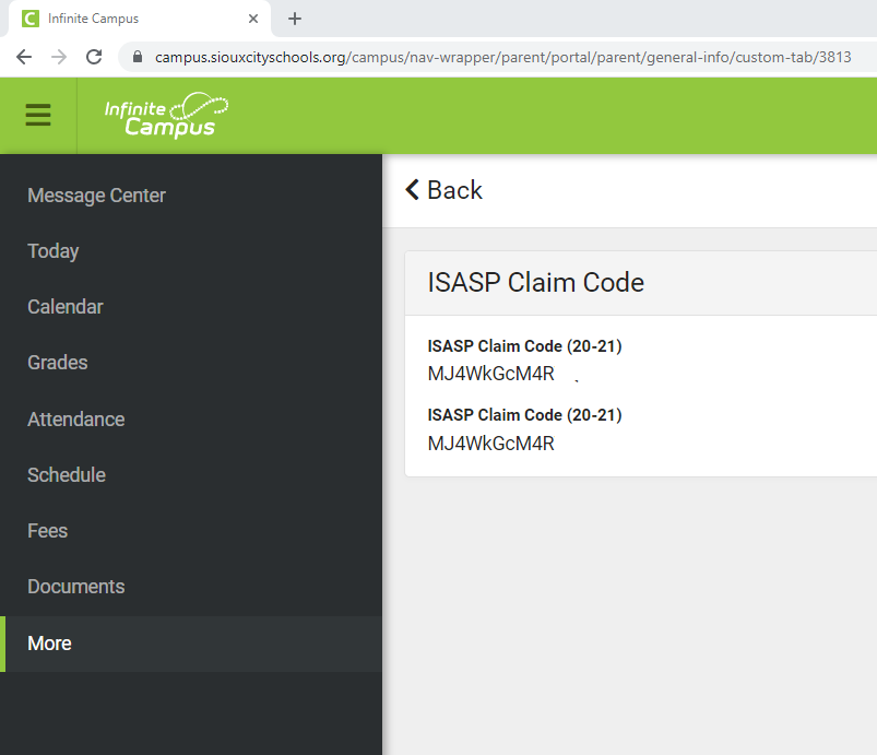 Your student's ISASP Claim Code will appear in the Claim Code box.