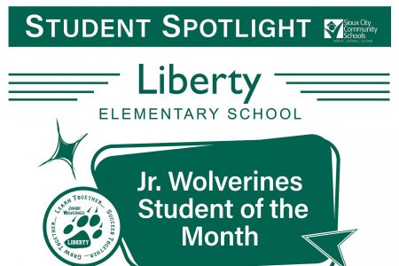 Student Recognition Signage - Student Spotlight - Liberty - Jr Wolverines Student of the Month
