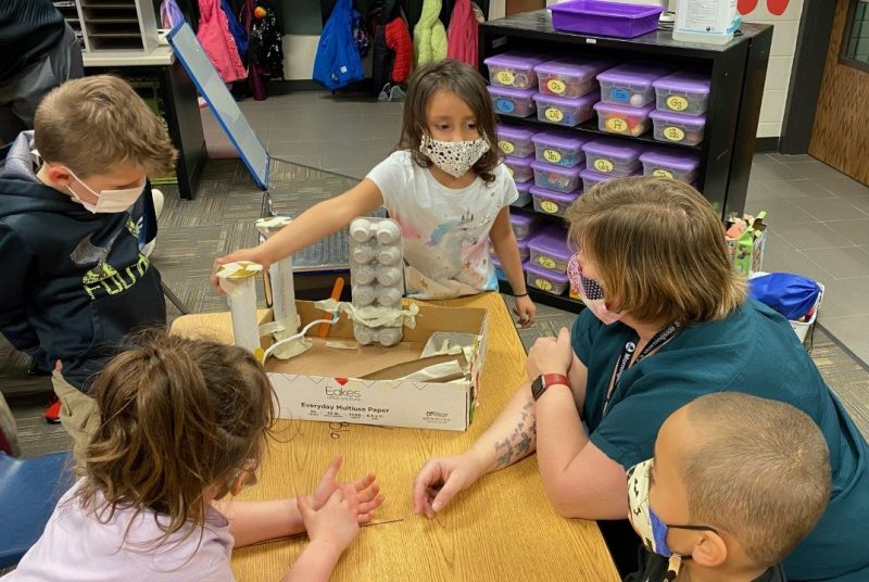 Students at Morningside STEM Elementary showcase Push and Pull Projects to District leaders.