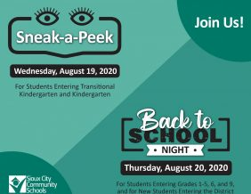 Join us! Sneak-a-Peek Wednesday, August 19, 2020 for students entering transitional kindergarten and kindergarten. Back to School Night Thursday, August 20, 2020 for students entering grades 1-5, 6, and 9, and for new students entering the District.