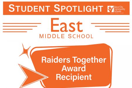 Student Recognition Signage - Student Spotlight - East Middle- Raiders Together Award Recipient