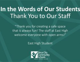 In the words of our students, thank you to our staff.