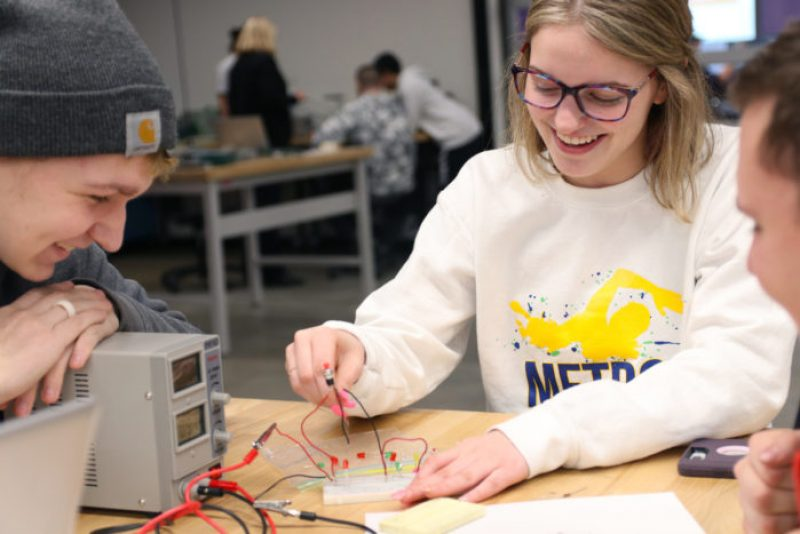 Sioux City Career Academy students working on an engineering project