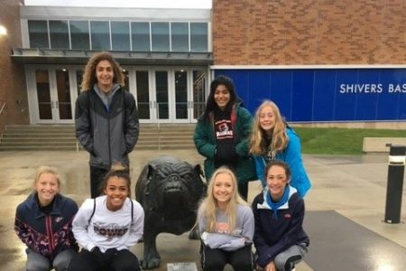 EHS Cross Country Team with Bulldog Statue