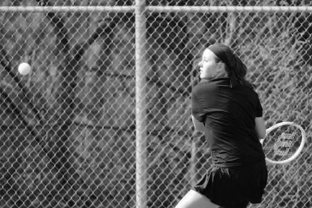 East High Tennis in Action Black and White Photo