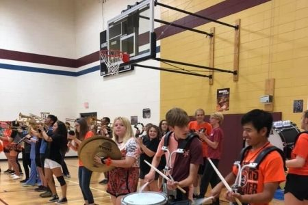 Pep Band Performance During Raiders Together Assembly