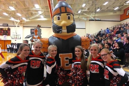 The Cheerleaders Pose with the EHS Mascot